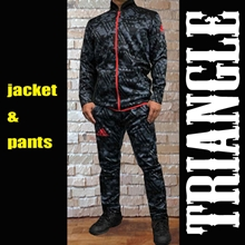 adidas アディダス ジャケット+パンツセットアップ Jacket+Pants Suits [Triangle Model]グレー黒 Grey/Black [ad-jkpantssetup-triangle-16-gybk]